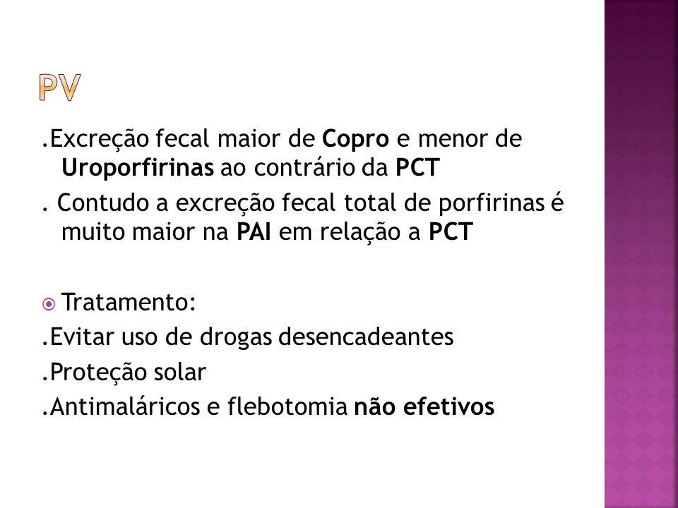 .Excreção fecal maior de Copro e menor de Uroporfirinas ao contrário da PCT. Contudo a excreção fecal total de porfirinas é muito maior na PAI em rela
