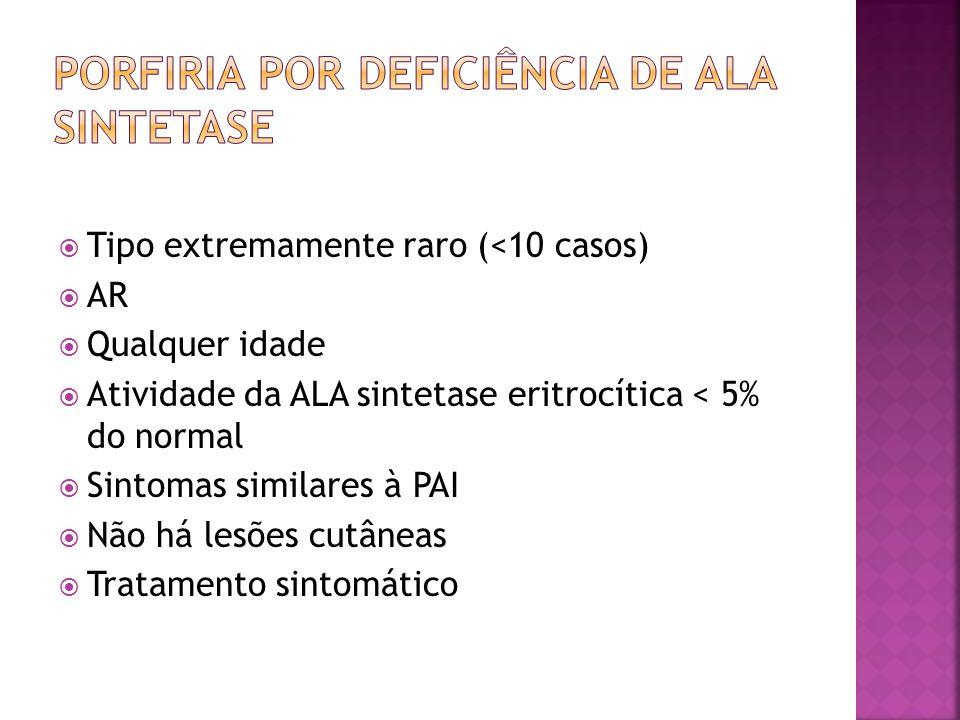 Tipo extremamente raro (<10 casos) AR Qualquer idade Atividade da ALA sintetase eritrocítica < 5% do normal Sintomas similares à PAI Não há lesões cut