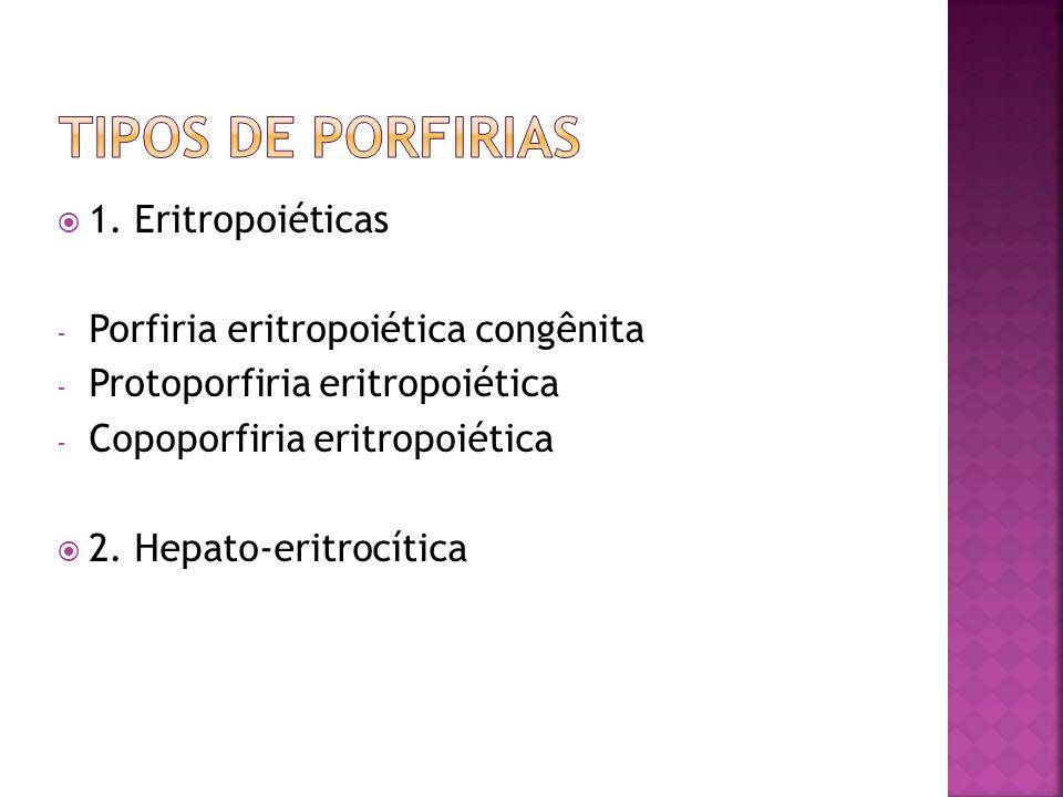 1. Eritropoiéticas - Porfiria eritropoiética congênita - Protoporfiria eritropoiética - Copoporfiria eritropoiética 2. Hepato-eritrocítica