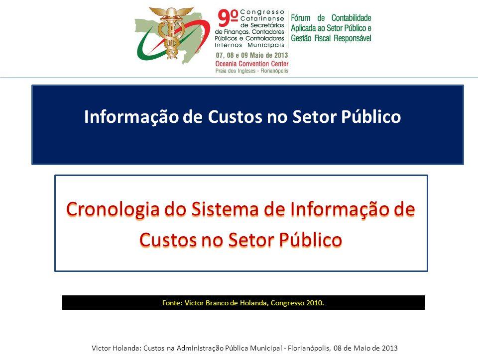 Cronologia do Sistema de Informação de Custos no Setor Público Informação de Custos no Setor Público Fonte: Victor Branco de Holanda, Congresso 2010.