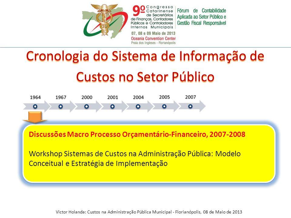 Discussões Macro Processo Orçamentário-Financeiro, 2007-2008 Workshop Sistemas de Custos na Administração Pública: Modelo Conceitual e Estratégia de I