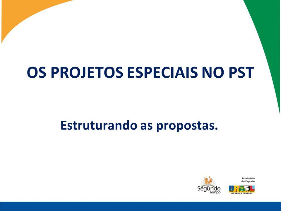 OS PROJETOS ESPECIAIS NO PST Estruturando as propostas.