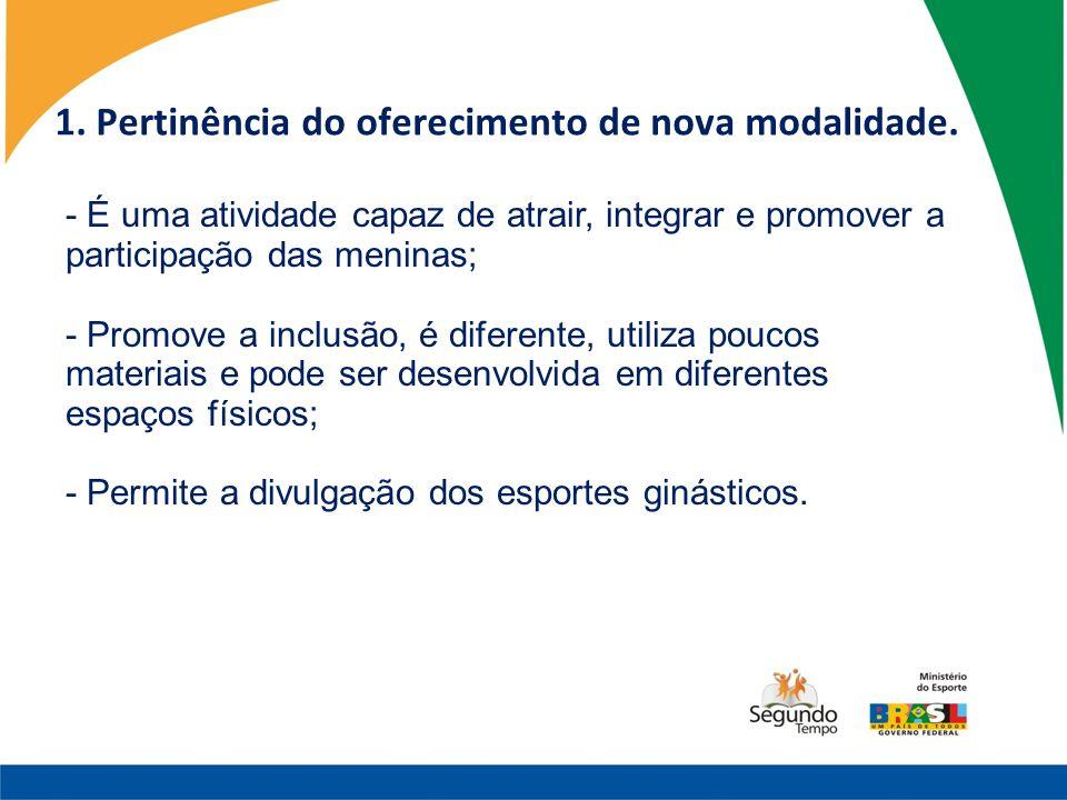 1. Pertinência do oferecimento de nova modalidade.