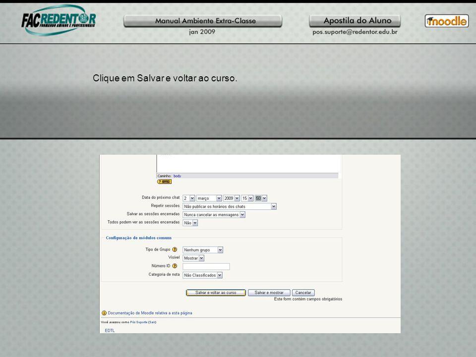 Clique em Salvar e voltar ao curso.