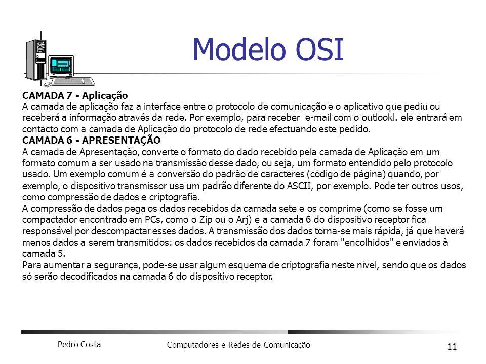 Pedro Costa Computadores e Redes de Comunicação 11 Modelo OSI CAMADA 7 - Aplicação A camada de aplicação faz a interface entre o protocolo de comunica