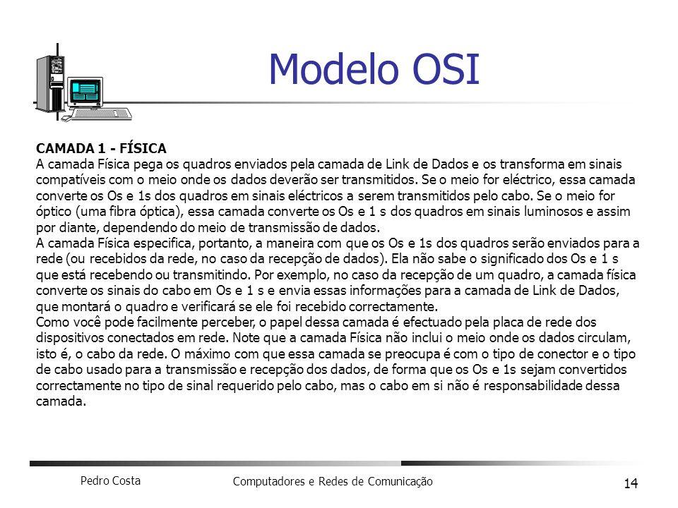 Pedro Costa Computadores e Redes de Comunicação 14 Modelo OSI CAMADA 1 - FÍSICA A camada Física pega os quadros enviados pela camada de Link de Dados