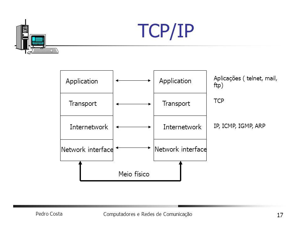 Pedro Costa Computadores e Redes de Comunicação 17 TCP/IP Application Transport Internetwork Network interface Application Transport Internetwork Netw