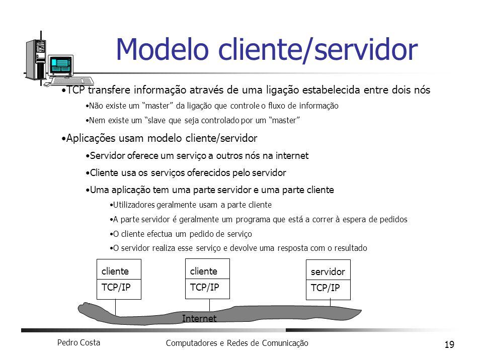 Pedro Costa Computadores e Redes de Comunicação 19 Modelo cliente/servidor TCP transfere informação através de uma ligação estabelecida entre dois nós