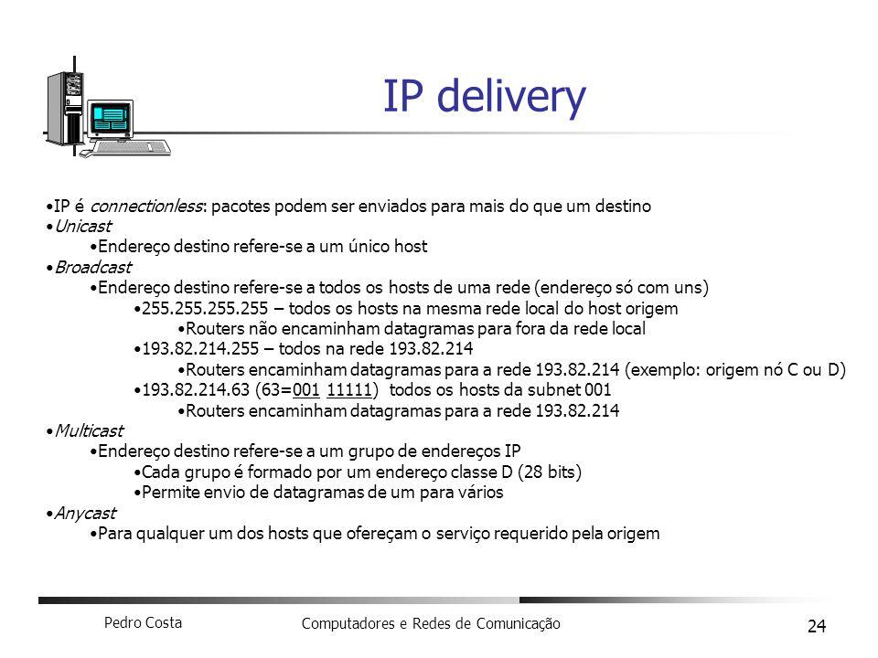 Pedro Costa Computadores e Redes de Comunicação 24 IP delivery IP é connectionless: pacotes podem ser enviados para mais do que um destino Unicast End