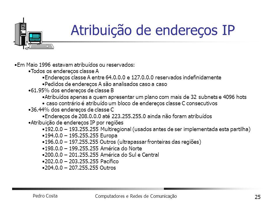 Pedro Costa Computadores e Redes de Comunicação 25 Atribuição de endereços IP Em Maio 1996 estavam atribuídos ou reservados: Todos os endereços classe