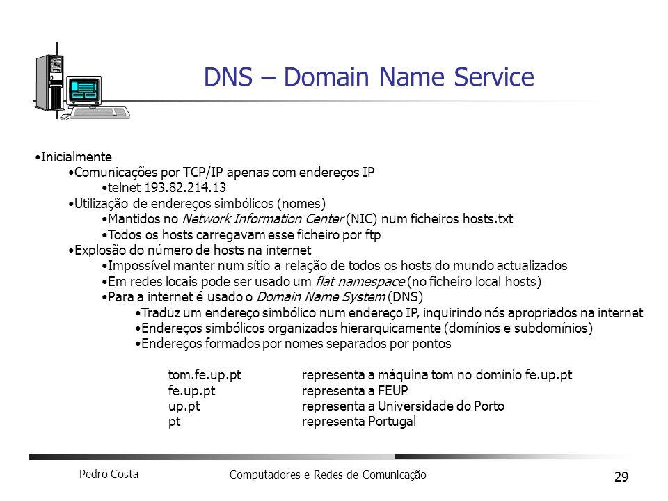 Pedro Costa Computadores e Redes de Comunicação 29 DNS – Domain Name Service Inicialmente Comunicações por TCP/IP apenas com endereços IP telnet 193.8