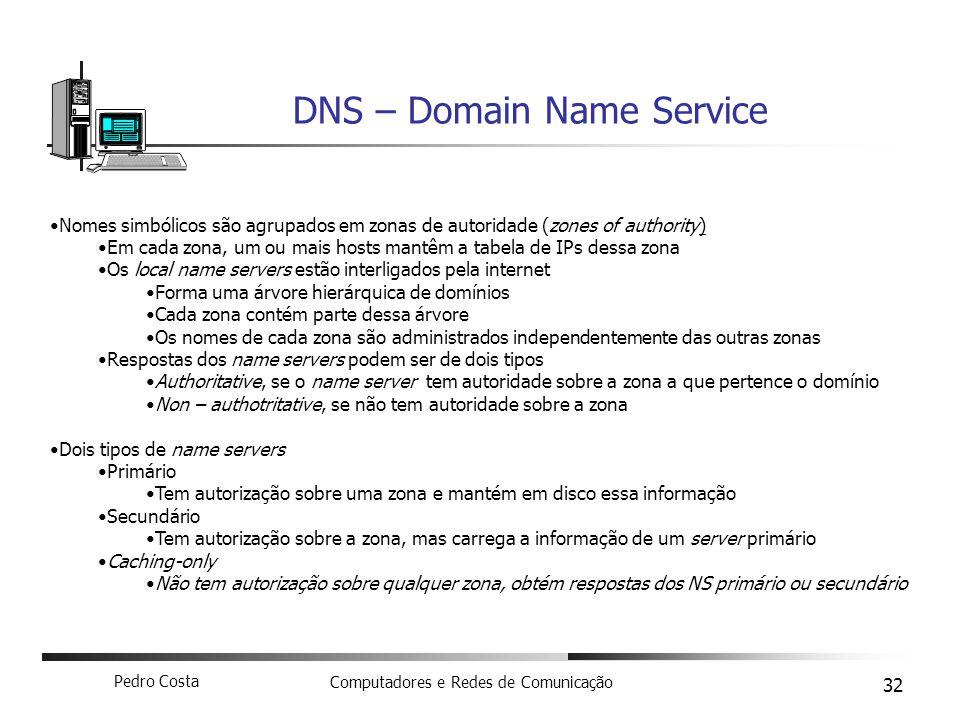 Pedro Costa Computadores e Redes de Comunicação 32 DNS – Domain Name Service Nomes simbólicos são agrupados em zonas de autoridade (zones of authority