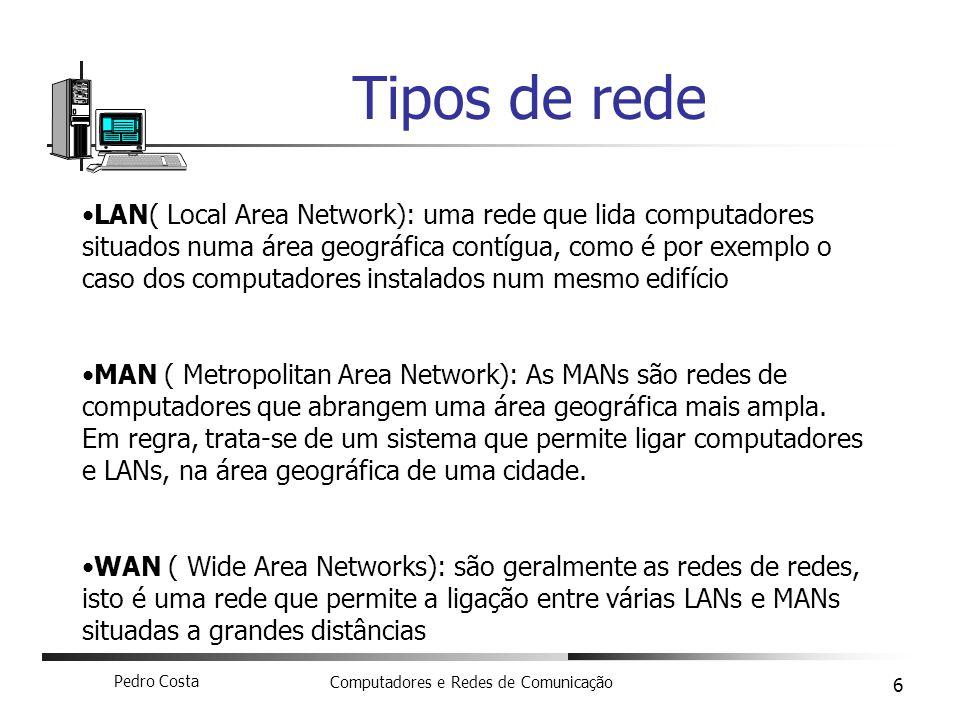 Pedro Costa Computadores e Redes de Comunicação 6 Tipos de rede LAN( Local Area Network): uma rede que lida computadores situados numa área geográfica