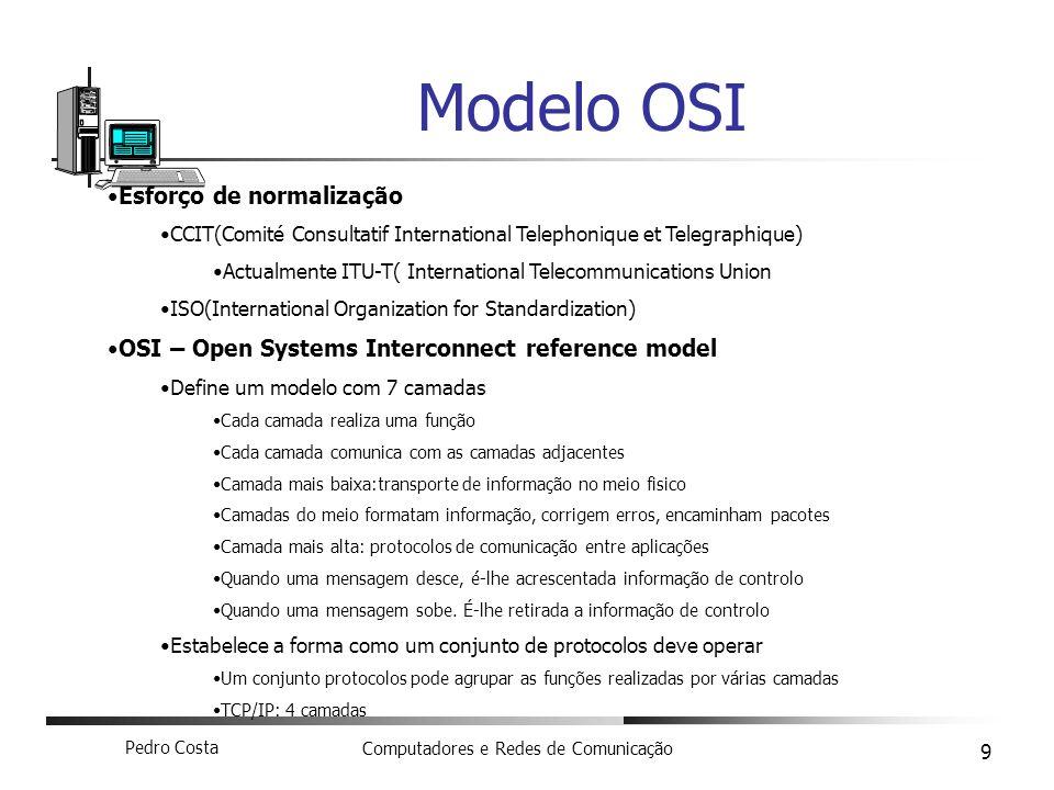 Pedro Costa Computadores e Redes de Comunicação 9 Modelo OSI Esforço de normalização CCIT(Comité Consultatif International Telephonique et Telegraphiq