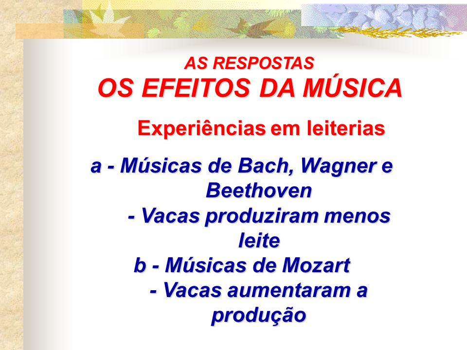 OS EFEITOS DA MÚSICA Dorothy Retallack: Dorothy Retallack: 11 experiências com plantas 11 experiências com plantas a - Música Clássica (Bach) a - Músi