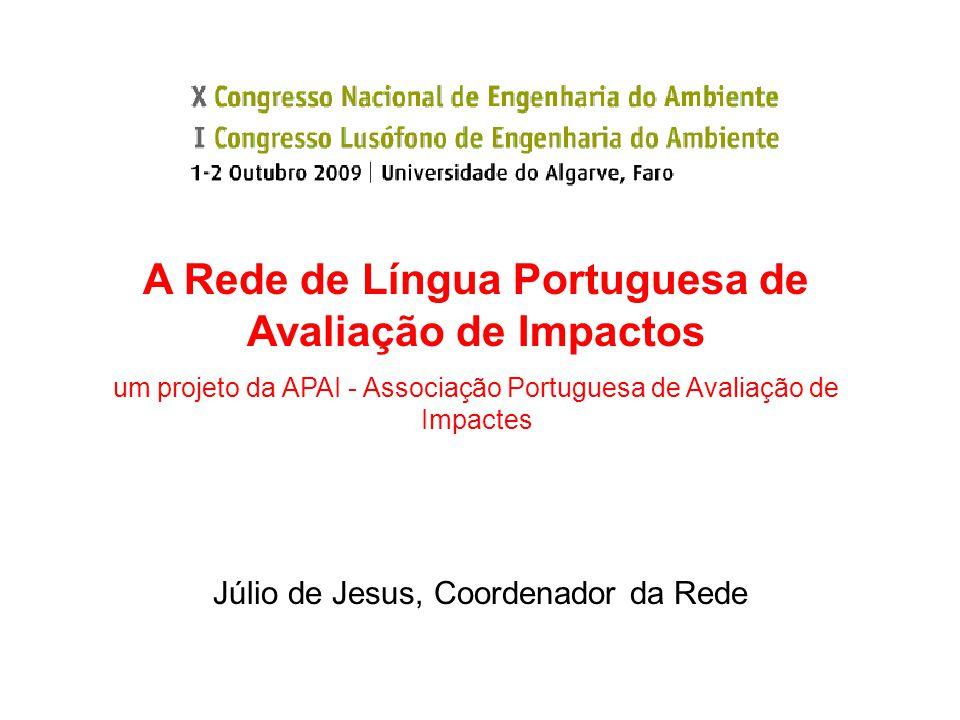Júlio de Jesus, Coordenador da Rede A Rede de Língua Portuguesa de Avaliação de Impactos um projeto da APAI - Associação Portuguesa de Avaliação de Impactes
