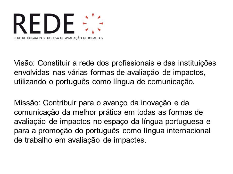 Visão: Constituir a rede dos profissionais e das instituições envolvidas nas várias formas de avaliação de impactos, utilizando o português como língua de comunicação.