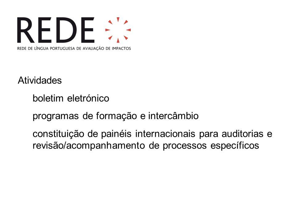 Atividades boletim eletrónico programas de formação e intercâmbio constituição de painéis internacionais para auditorias e revisão/acompanhamento de processos específicos