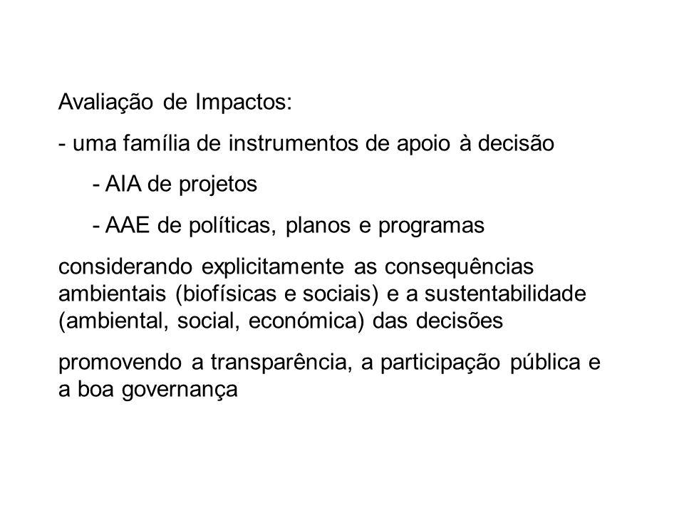 Avaliação de Impactos: - uma família de instrumentos de apoio à decisão - AIA de projetos - AAE de políticas, planos e programas considerando explicitamente as consequências ambientais (biofísicas e sociais) e a sustentabilidade (ambiental, social, económica) das decisões promovendo a transparência, a participação pública e a boa governança