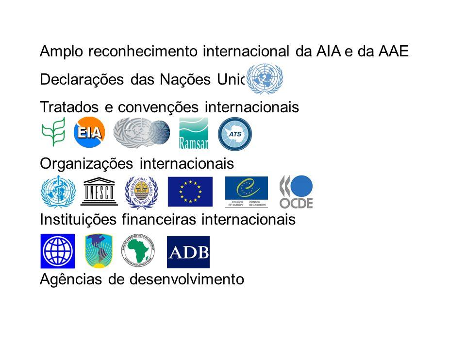 Amplo reconhecimento internacional da AIA e da AAE Declarações das Nações Unidas Tratados e convenções internacionais Organizações internacionais Instituições financeiras internacionais Agências de desenvolvimento