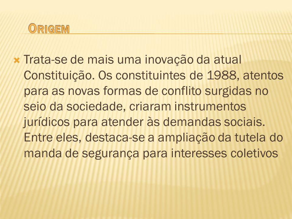 Trata-se de mais uma inovação da atual Constituição. Os constituintes de 1988, atentos para as novas formas de conflito surgidas no seio da sociedade,