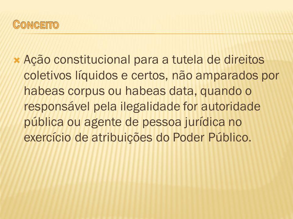 Ação constitucional para a tutela de direitos coletivos líquidos e certos, não amparados por habeas corpus ou habeas data, quando o responsável pela i