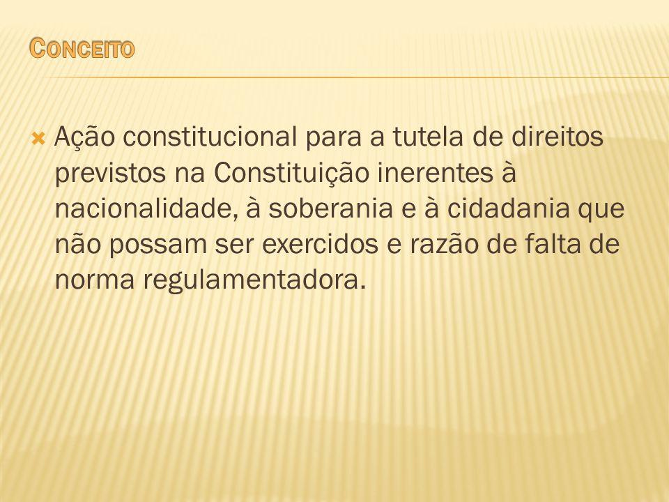 Ação constitucional para a tutela de direitos previstos na Constituição inerentes à nacionalidade, à soberania e à cidadania que não possam ser exerci