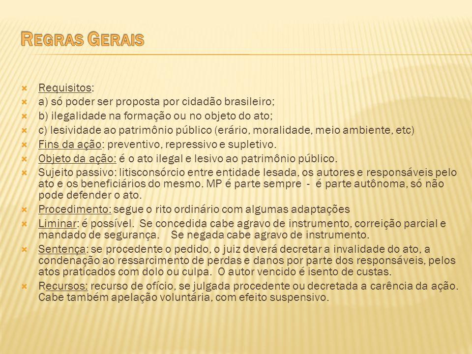 Requisitos: a) só poder ser proposta por cidadão brasileiro; b) ilegalidade na formação ou no objeto do ato; c) lesividade ao patrimônio público (erár