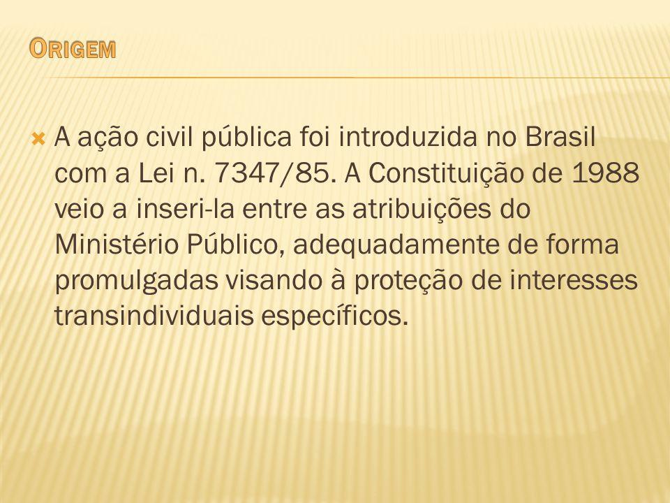 A ação civil pública foi introduzida no Brasil com a Lei n. 7347/85. A Constituição de 1988 veio a inseri-la entre as atribuições do Ministério Públic