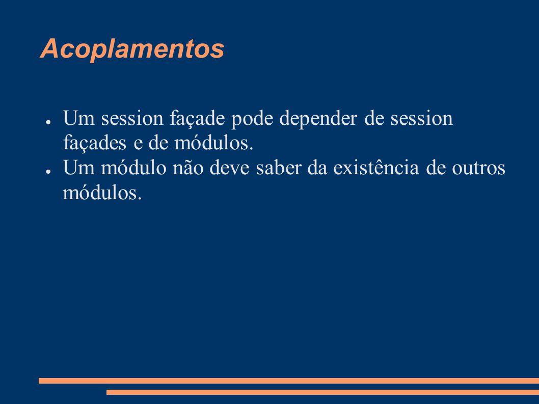 Acoplamentos Um session façade pode depender de session façades e de módulos.