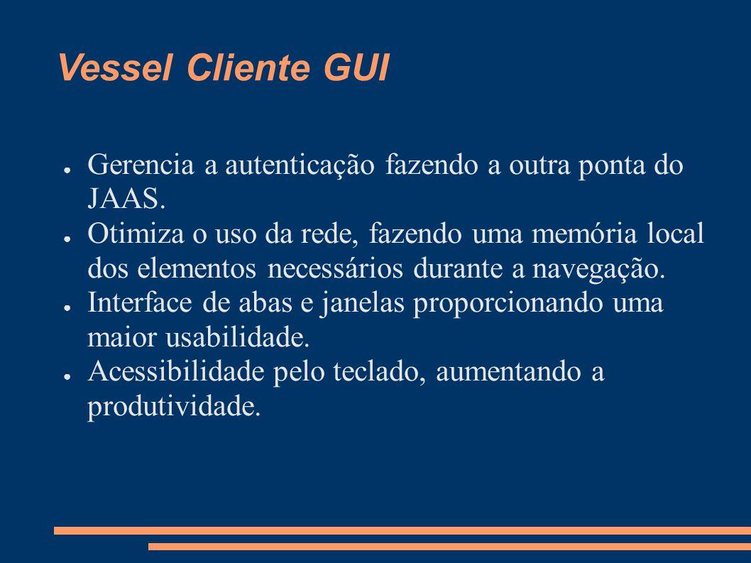 Vessel Cliente GUI Gerencia a autenticação fazendo a outra ponta do JAAS.