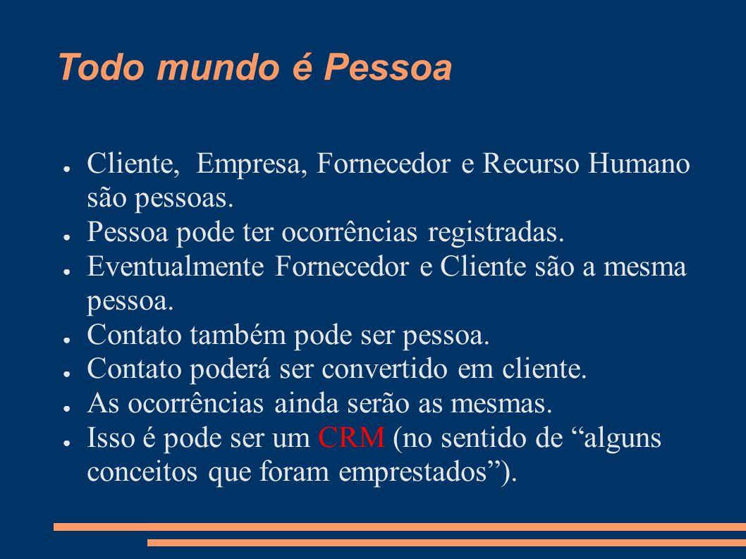 Todo mundo é Pessoa Cliente, Empresa, Fornecedor e Recurso Humano são pessoas.