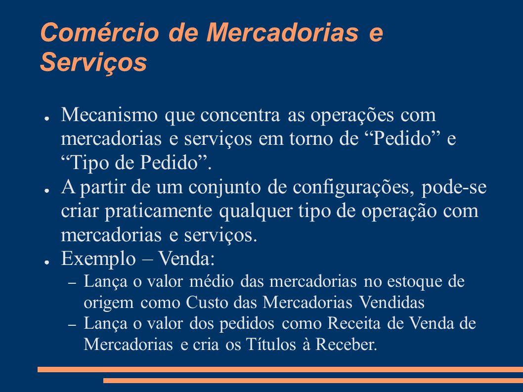 Comércio de Mercadorias e Serviços Mecanismo que concentra as operações com mercadorias e serviços em torno de Pedido e Tipo de Pedido.