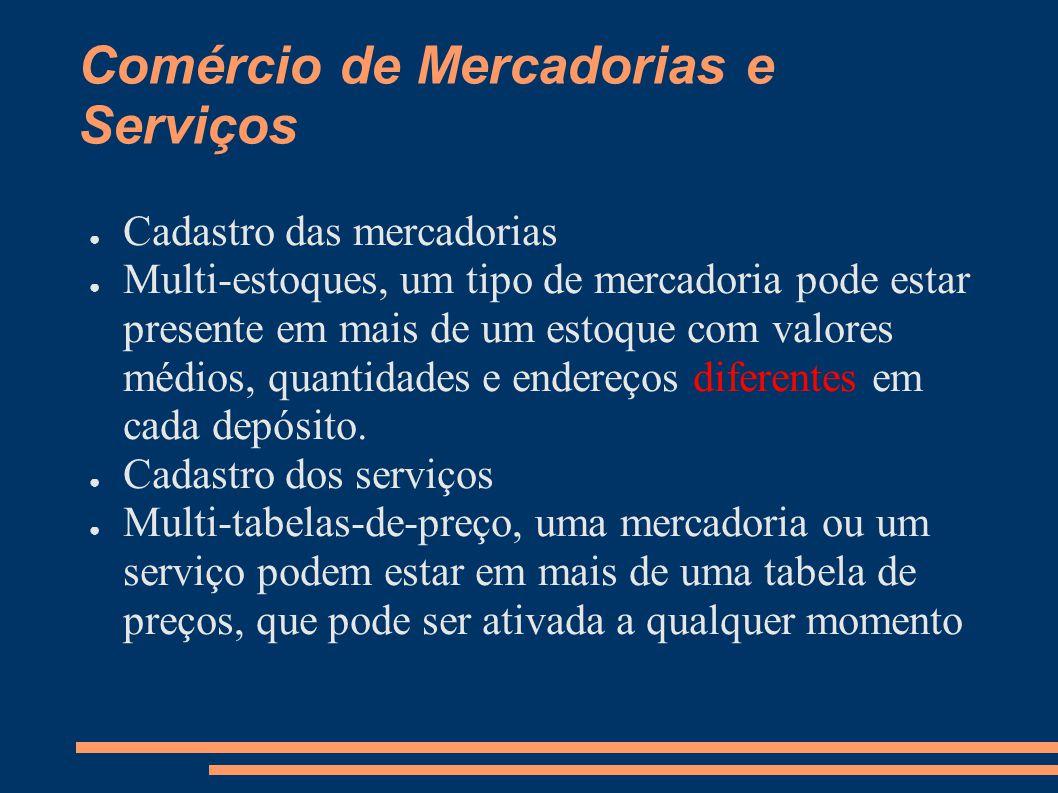 Comércio de Mercadorias e Serviços Cadastro das mercadorias Multi-estoques, um tipo de mercadoria pode estar presente em mais de um estoque com valores médios, quantidades e endereços diferentes em cada depósito.