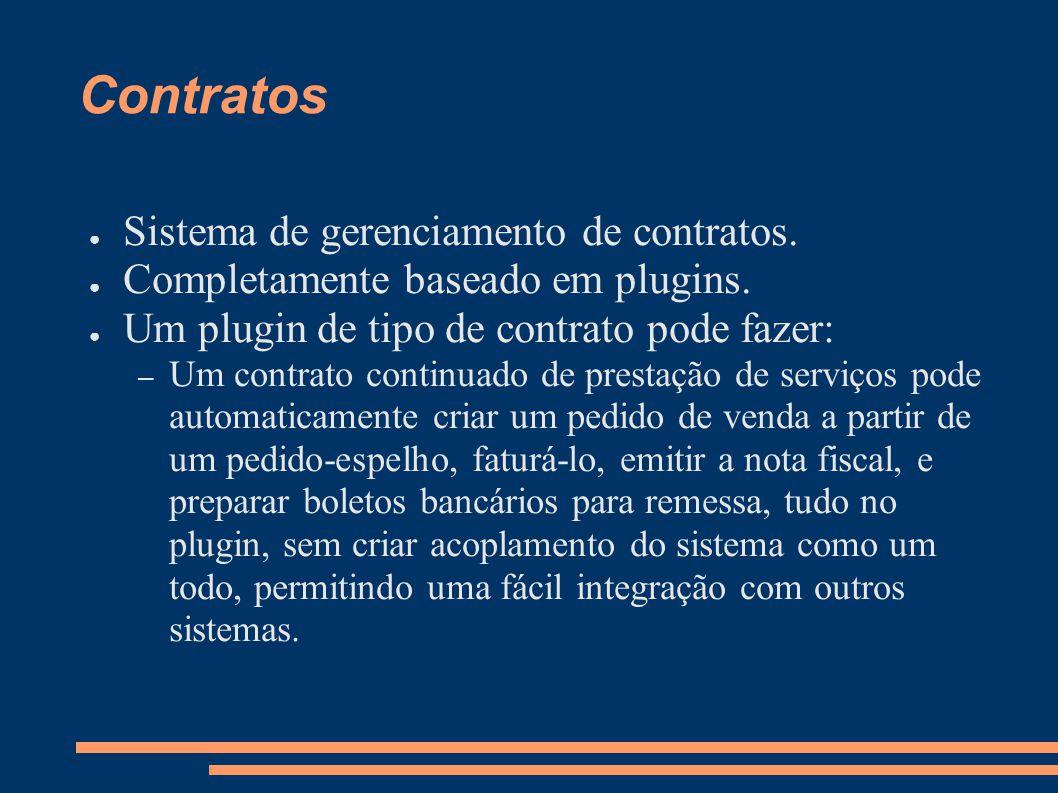 Contratos Sistema de gerenciamento de contratos. Completamente baseado em plugins. Um plugin de tipo de contrato pode fazer: – Um contrato continuado