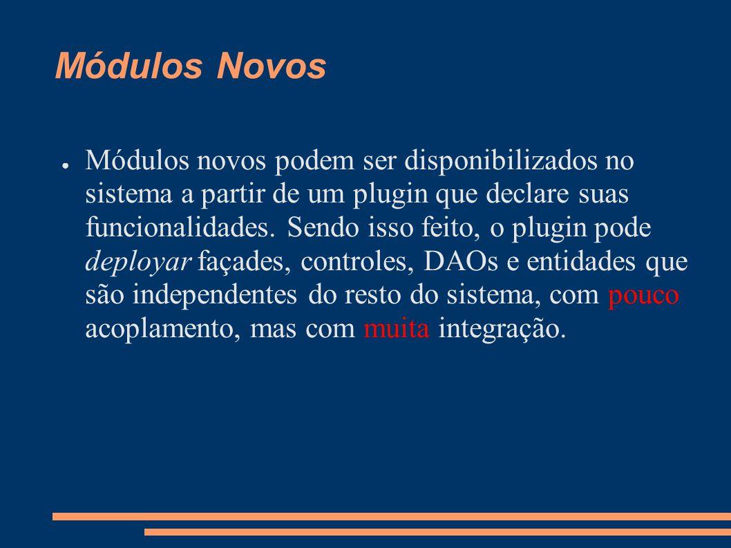 Módulos Novos Módulos novos podem ser disponibilizados no sistema a partir de um plugin que declare suas funcionalidades.