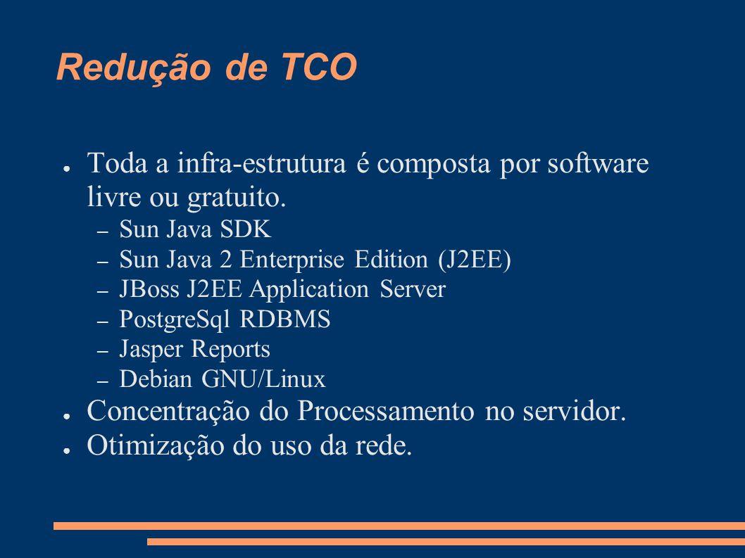 Redução de TCO Toda a infra-estrutura é composta por software livre ou gratuito.