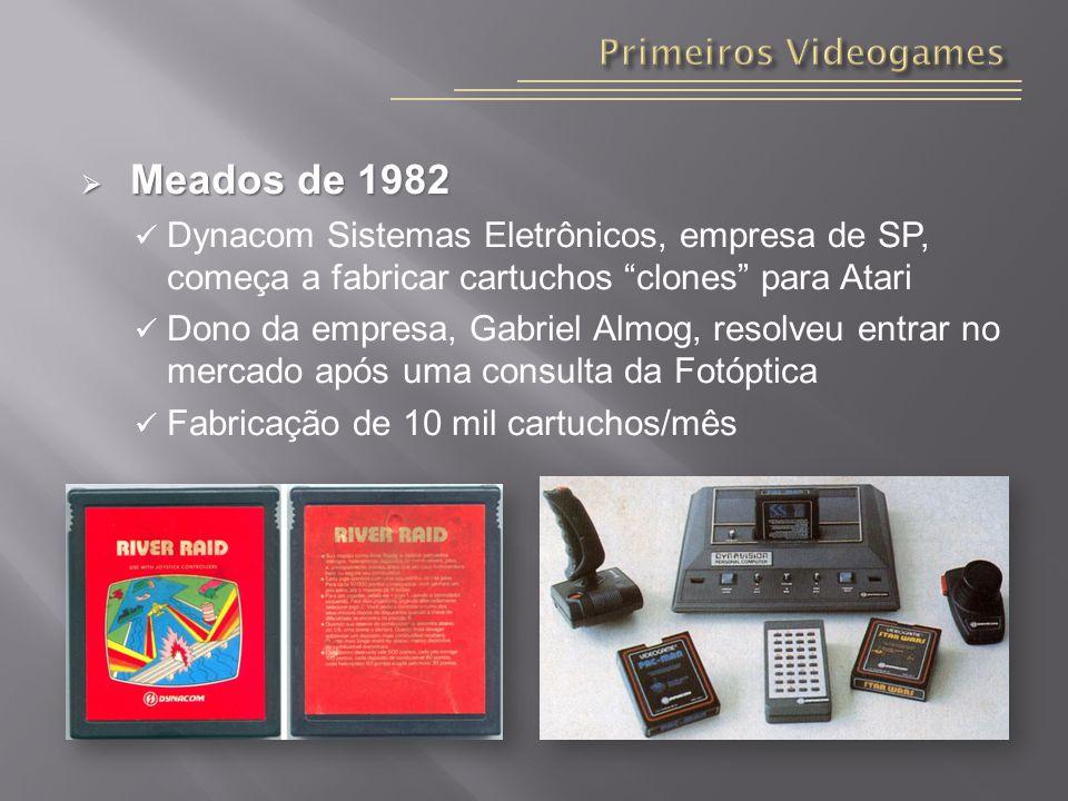 Meados de 1982 Meados de 1982 Dynacom Sistemas Eletrônicos, empresa de SP, começa a fabricar cartuchos clones para Atari Dono da empresa, Gabriel Almog, resolveu entrar no mercado após uma consulta da Fotóptica Fabricação de 10 mil cartuchos/mês