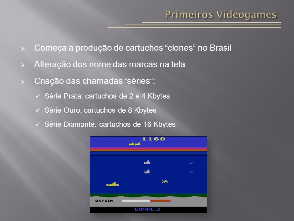 Começa a produção de cartuchos clones no Brasil Alteração dos nome das marcas na tela Criação das chamadas séries: Série Prata: cartuchos de 2 e 4 Kbytes Série Ouro: cartuchos de 8 Kbytes Série Diamante: cartuchos de 16 Kbytes