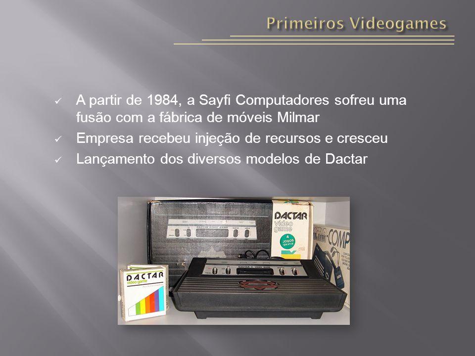 A partir de 1984, a Sayfi Computadores sofreu uma fusão com a fábrica de móveis Milmar Empresa recebeu injeção de recursos e cresceu Lançamento dos diversos modelos de Dactar