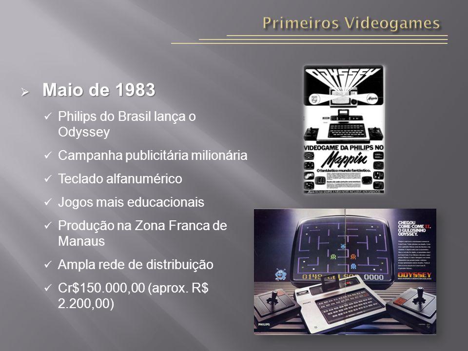 Maio de 1983 Maio de 1983 Philips do Brasil lança o Odyssey Campanha publicitária milionária Teclado alfanumérico Jogos mais educacionais Produção na Zona Franca de Manaus Ampla rede de distribuição Cr$150.000,00 (aprox.