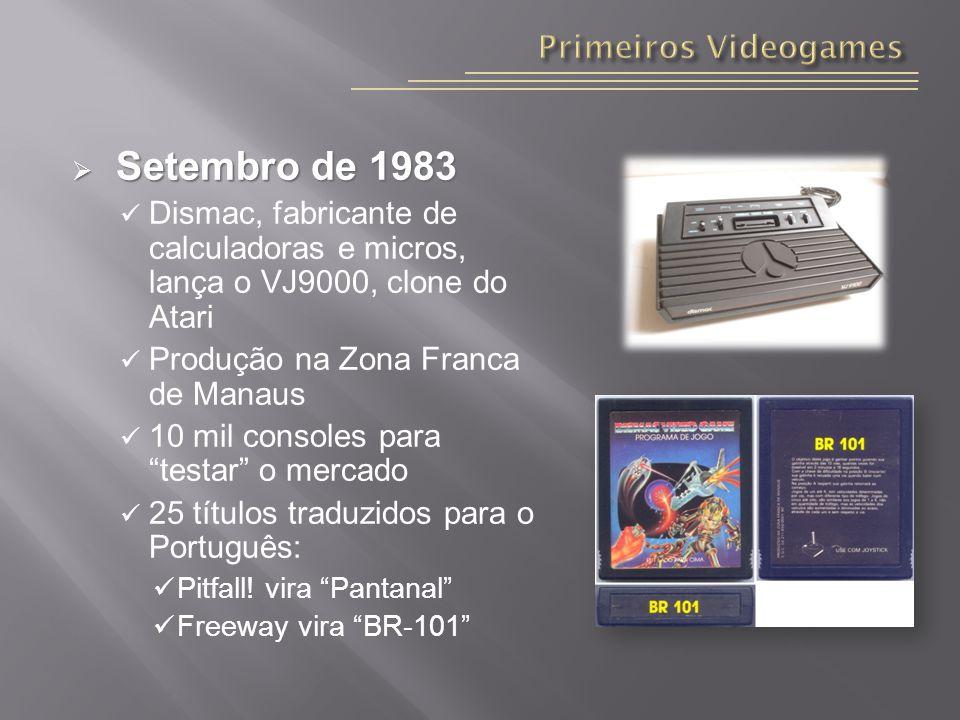 Setembro de 1983 Setembro de 1983 Dismac, fabricante de calculadoras e micros, lança o VJ9000, clone do Atari Produção na Zona Franca de Manaus 10 mil consoles para testar o mercado 25 títulos traduzidos para o Português: Pitfall.