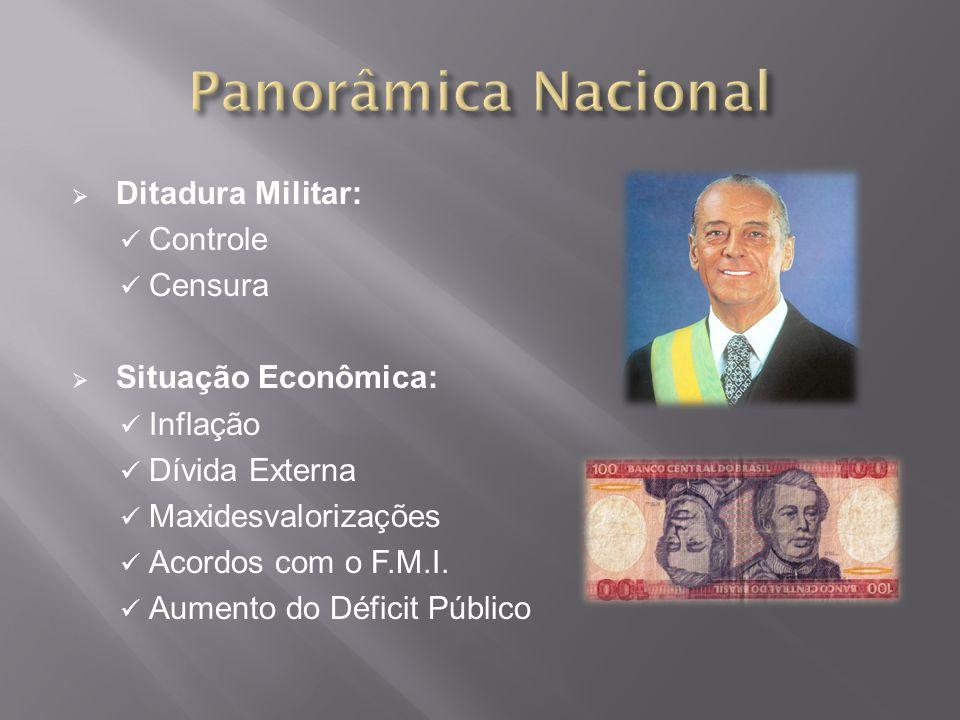 Ditadura Militar: Controle Censura Situação Econômica: Inflação Dívida Externa Maxidesvalorizações Acordos com o F.M.I.