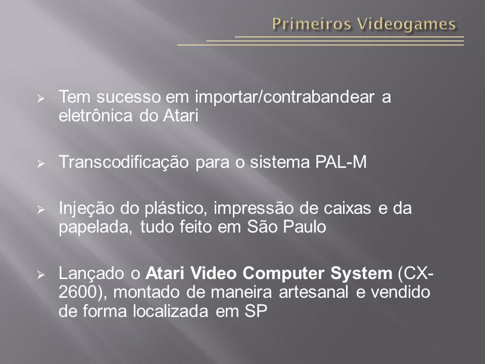 Tem sucesso em importar/contrabandear a eletrônica do Atari Transcodificação para o sistema PAL-M Injeção do plástico, impressão de caixas e da papelada, tudo feito em São Paulo Lançado o Atari Video Computer System (CX- 2600), montado de maneira artesanal e vendido de forma localizada em SP
