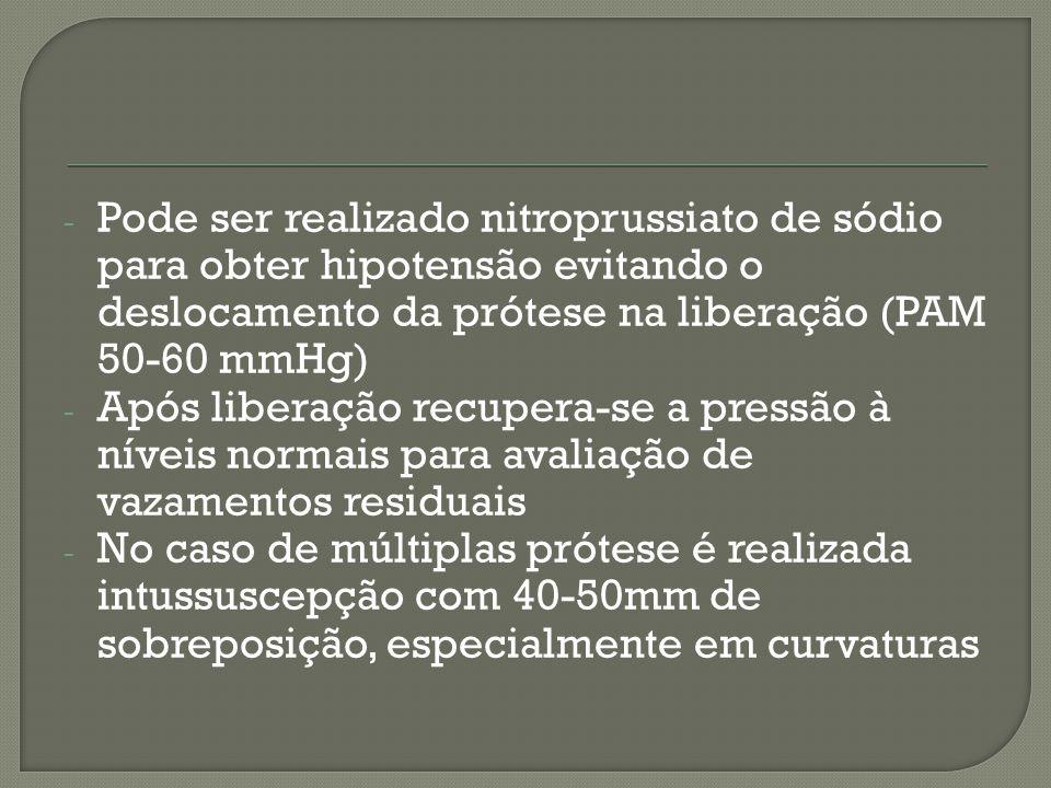 - Pode ser realizado nitroprussiato de sódio para obter hipotensão evitando o deslocamento da prótese na liberação (PAM 50-60 mmHg) - Após liberação recupera-se a pressão à níveis normais para avaliação de vazamentos residuais - No caso de múltiplas prótese é realizada intussuscepção com 40-50mm de sobreposição, especialmente em curvaturas