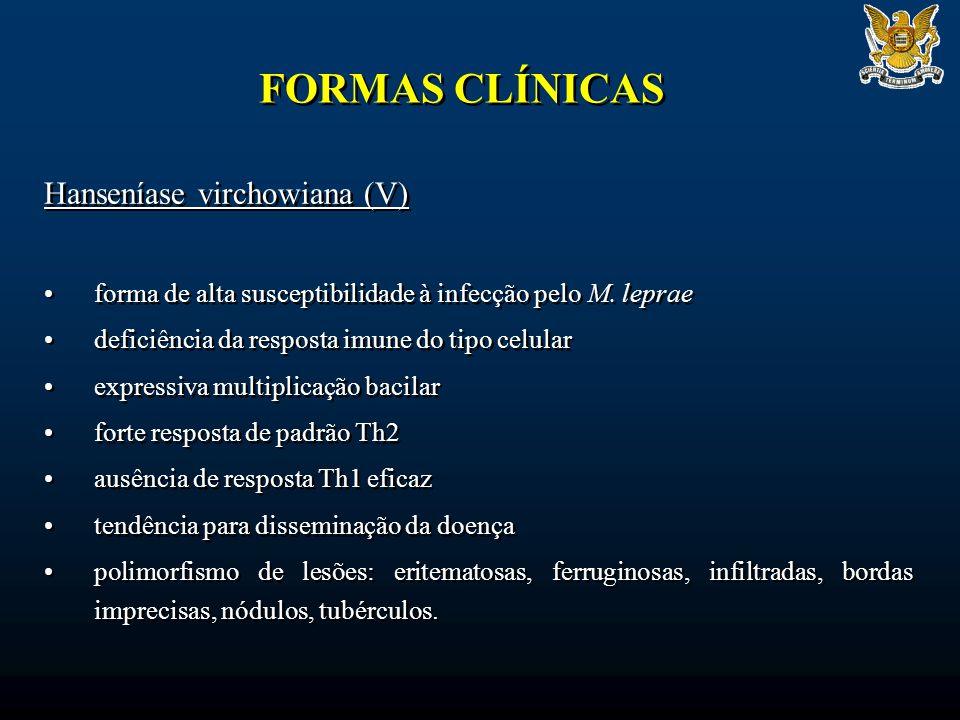 FORMAS CLÍNICAS Hanseníase virchowiana (V) forma de alta susceptibilidade à infecção pelo M. leprae deficiência da resposta imune do tipo celular expr