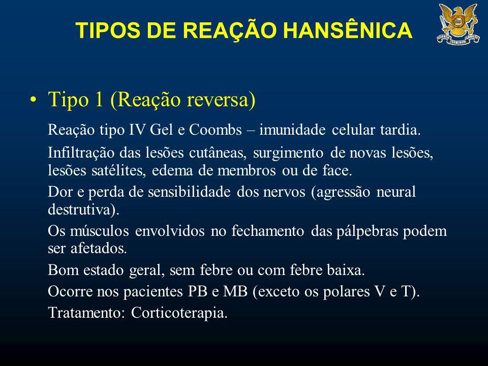 TIPOS DE REAÇÃO HANSÊNICA Tipo 1 (Reação reversa) Reação tipo IV Gel e Coombs – imunidade celular tardia. Infiltração das lesões cutâneas, surgimento