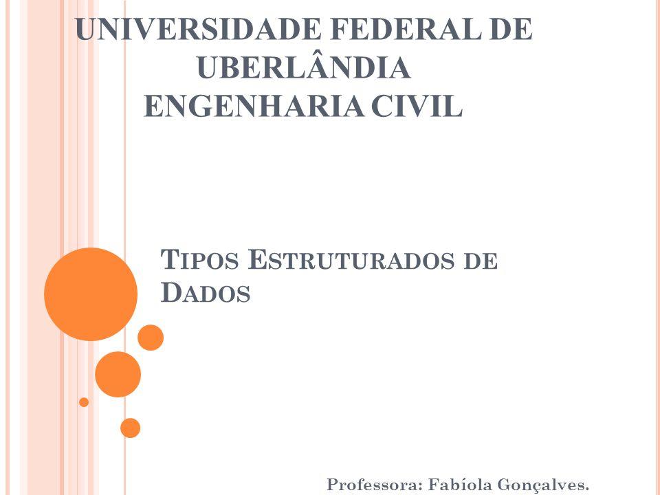 T IPOS E STRUTURADOS DE D ADOS Professora: Fabíola Gonçalves. UNIVERSIDADE FEDERAL DE UBERLÂNDIA ENGENHARIA CIVIL