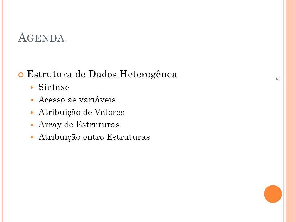 ESTRUTURA DE DADOS HETEROGÊNEA ESTRUTURA DE ESTRUTURAS Nesse caso, o acesso aos dados do endereço do cadastro é feito utilizando novamente o operador.; estrutura cadastro c; copia(c.nome, João ); c.idade = 18; copia(c.