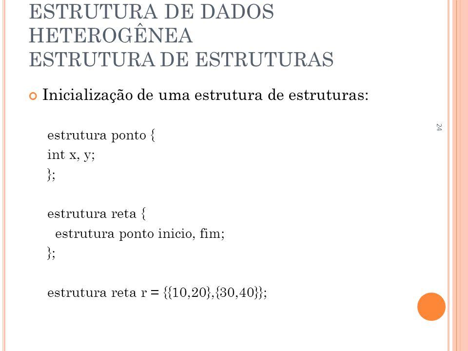 ESTRUTURA DE DADOS HETEROGÊNEA ESTRUTURA DE ESTRUTURAS Inicialização de uma estrutura de estruturas: estrutura ponto { int x, y; }; estrutura reta { e